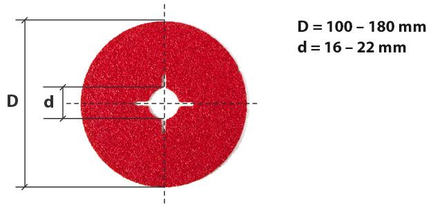 dimensiones de discos de fibra abrasivos