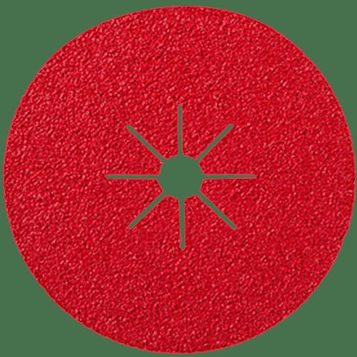 granos abrasivo en discos de fibra